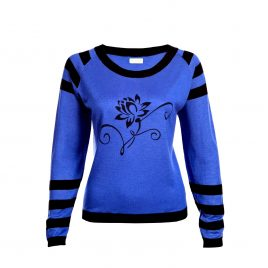 Asneh Lotus Flower silk cashmere blue black sweater-min copy-min