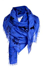 Asneh Lotus blue and black silk cashmere scarf