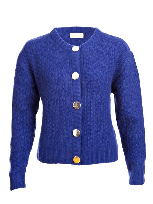 Asneh Louise Handknit blue cashmere cardigan with gold buttons-min
