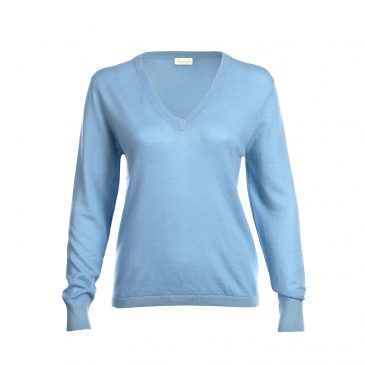 Light blue fine knit cashmere sweater from Asneh