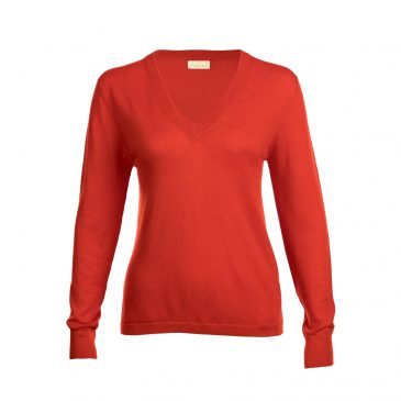 Red fine knit cashmere sweater from Asneh.