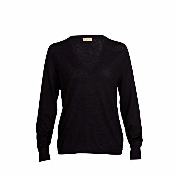 Asneh black cashmere v-neck fine knit