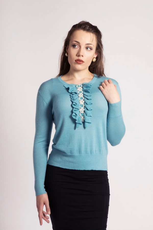 Asneh milky blue Grace cashmere sweater with pearls and ruffles