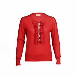 Asneh red Grace cashmere sweater with pearls and ruffles