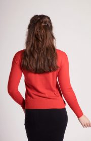 Asneh red Grace cashmere sweater with pearls & ruffles