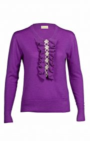 Asneh royal purple Grace cashmere sweater with pearls and ruffles