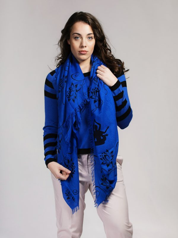 Large Blue and black silk cashmere scarf with Lotus print by Asneh