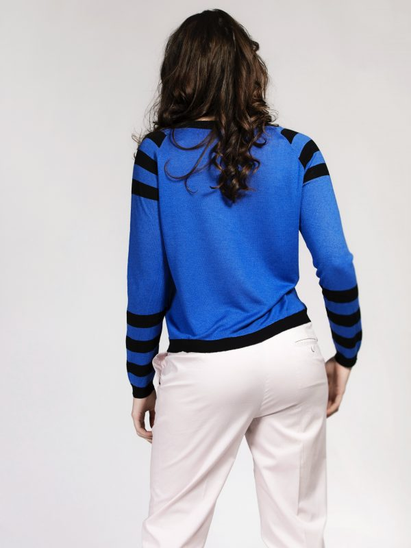Blue and black silk cashmere sweater with Lotus flower print and stripes by Asneh