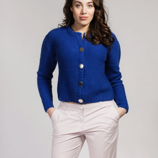 Blue cashmere cardigan with gold buttons by Asneh