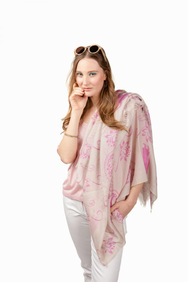 Large printed silk cashmere light beige and pink scarf