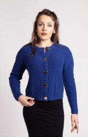 Louise hand knitted cashmere cardigan with gold buttons Asneh