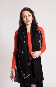 asneh black embroidered pashmina Friends of Asneh