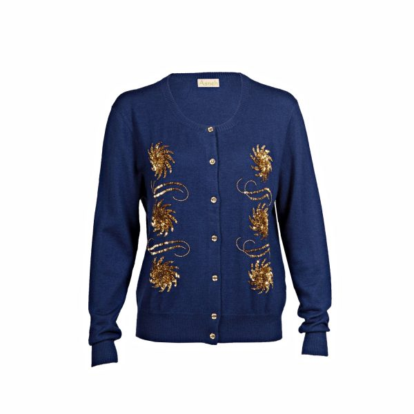 Asneh Blue Krystle Cashmere Cardigan with gold embellishment