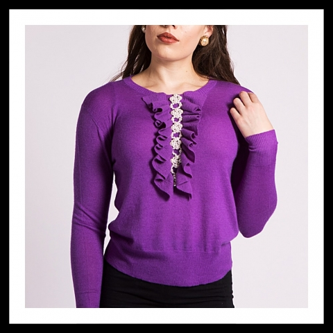 Asneh Grace cashmere sweater with pearl embroidery and frills in purple