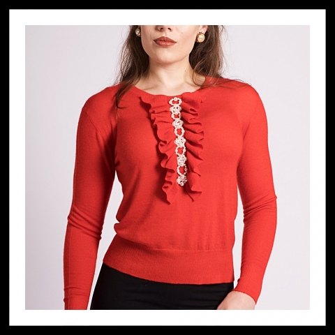 Asneh Grace cashmere sweater with pearl embroidery and frills in red