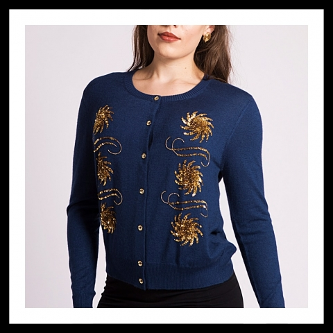 Asneh Krystle cashmere cardigan with gold embroidery in blue