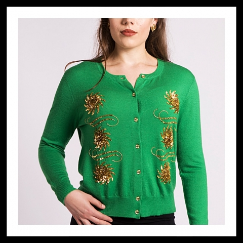 Asneh Krystle cashmere cardigan with gold embroidery in green