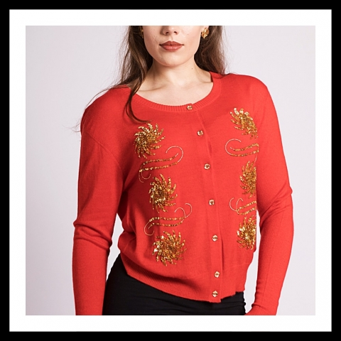Asneh Krystle cashmere cardigan with gold embroidery in red