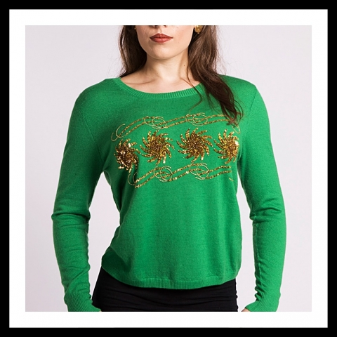 Asneh Krystle cashmere sweater with gold embroidery in green