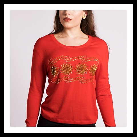 Asneh Krystle cashmere sweater with gold embroidery in red