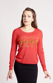 embellished cashmere sweater in red