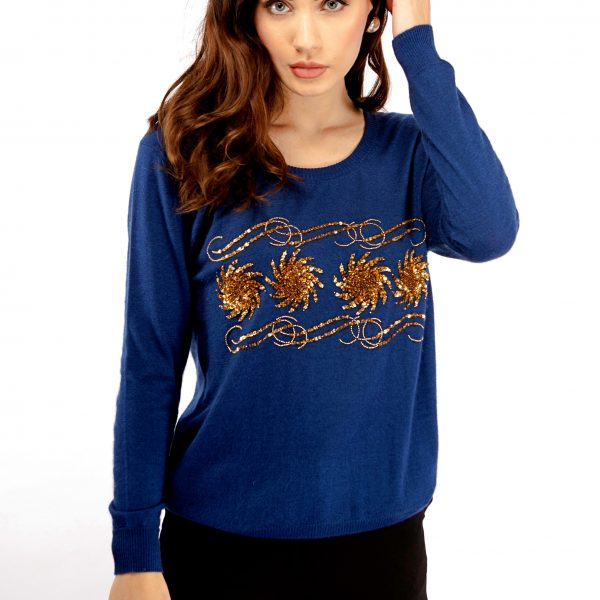 Blue cashmere sweater with gold bead and sequin embellishment Asneh.jpg