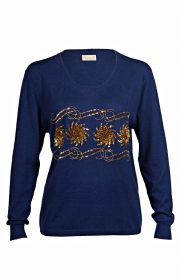 Sequin and Bead Embellished Krystle Cashmere Sweater in Blue