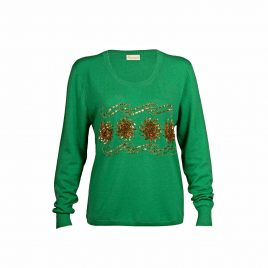 Sequin and Bead Embellished Krystle Cashmere Sweater in Green