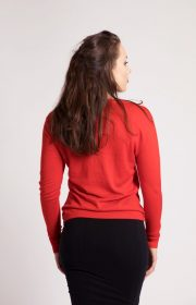 Sequin and Bead Embellished Krystle Cashmere Sweater in Red