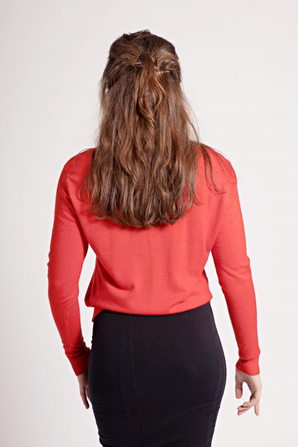 Red Krystle cashmere cardigan with gold embellishment