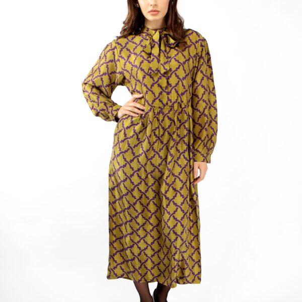 Green silk printed dress by Asneh