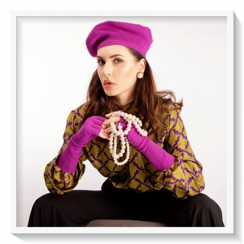Purple beret and gloves with green printed silk blouse
