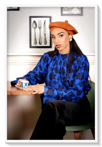 Printed funnel neck silk blouse by Asneh