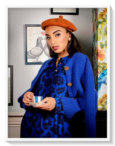 Blue printed silk dress brown beret and blue cashmere cardigan by Asneh