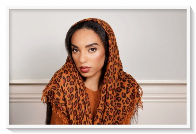 Leopard cashmere scarf by Asneh