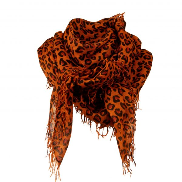 large leopard print cashmere scarf