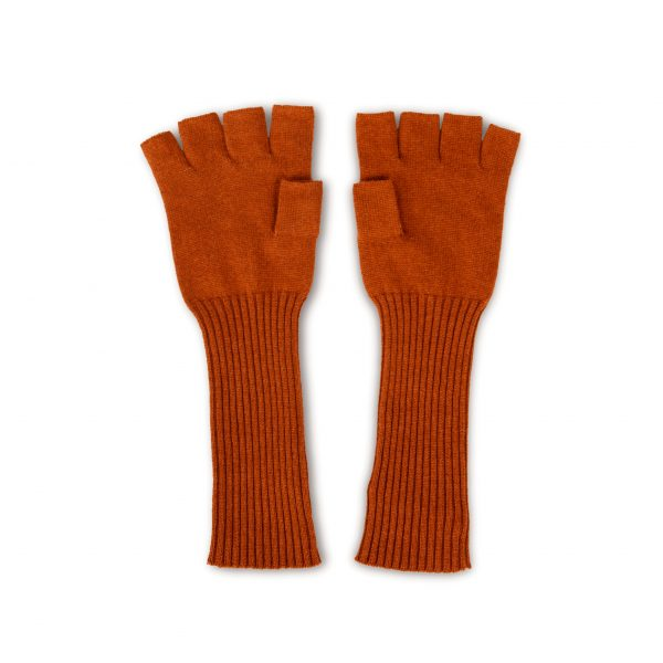 Fingerless brown silk cashmere gloves
