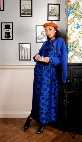 midi long blue black silk dress