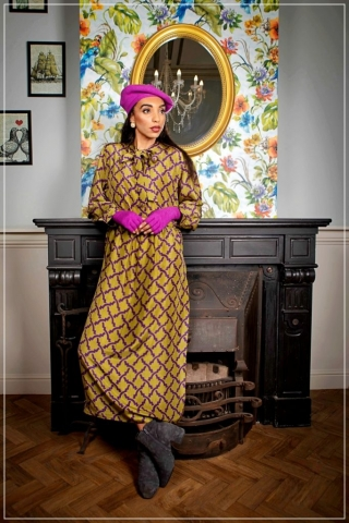 printed midi silk dress in green and purple