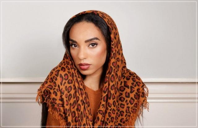 large leopard cashmere scarf