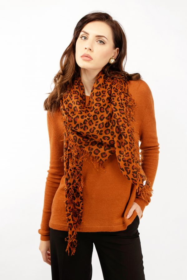 Leopard print large cashmere scarf by Asneh