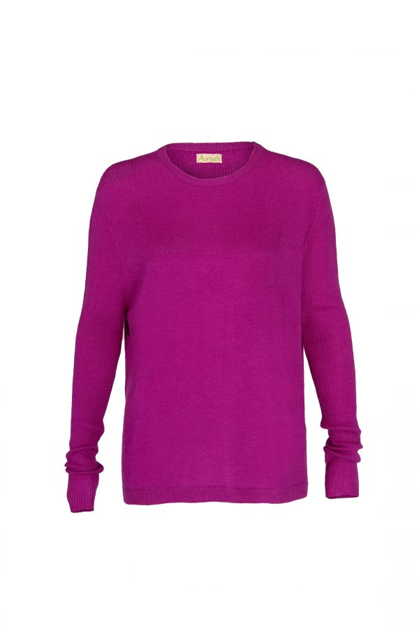 Purple fine knit cashmere sweater with rib knit by Asneh