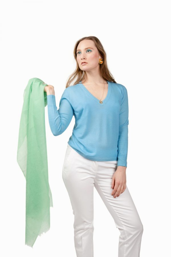 Light blue cashmere v-neck and light green cashmere scarf by Asneh