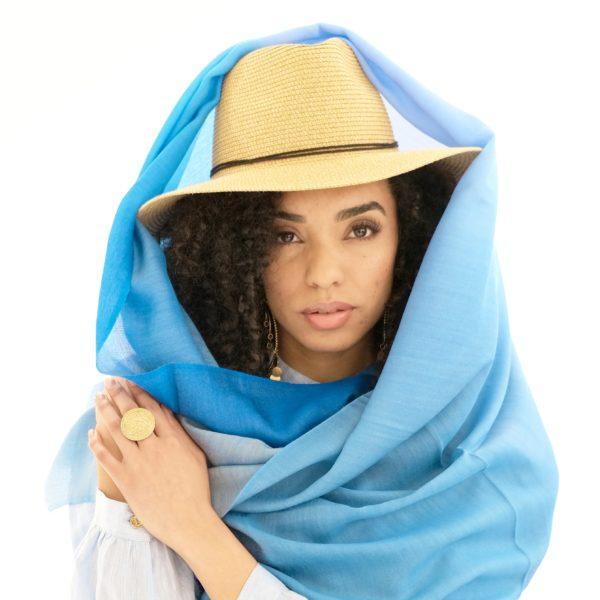 blue scarf dip dye wool silk