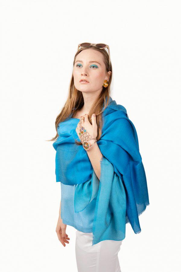 Blue dip dye silk wool mix scarf by Asneh
