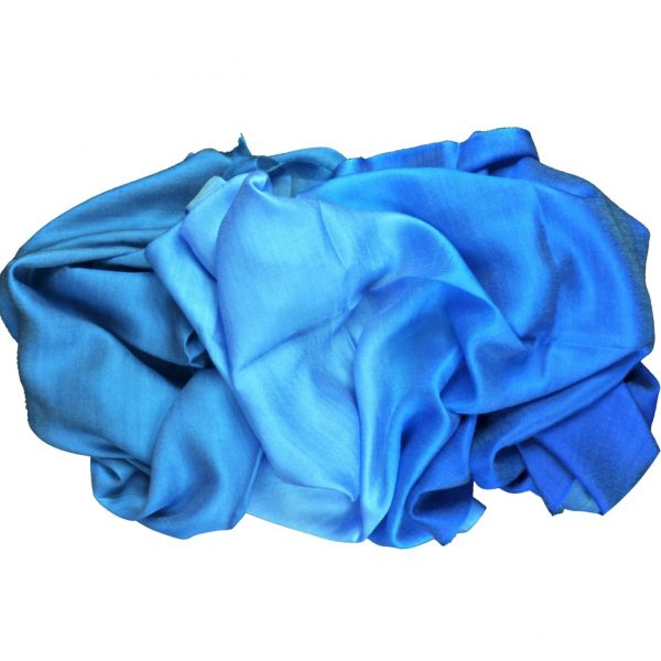 Blue silk wool dip dye scarf by Asneh