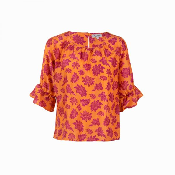 Orange purple baroque printed silk blouse
