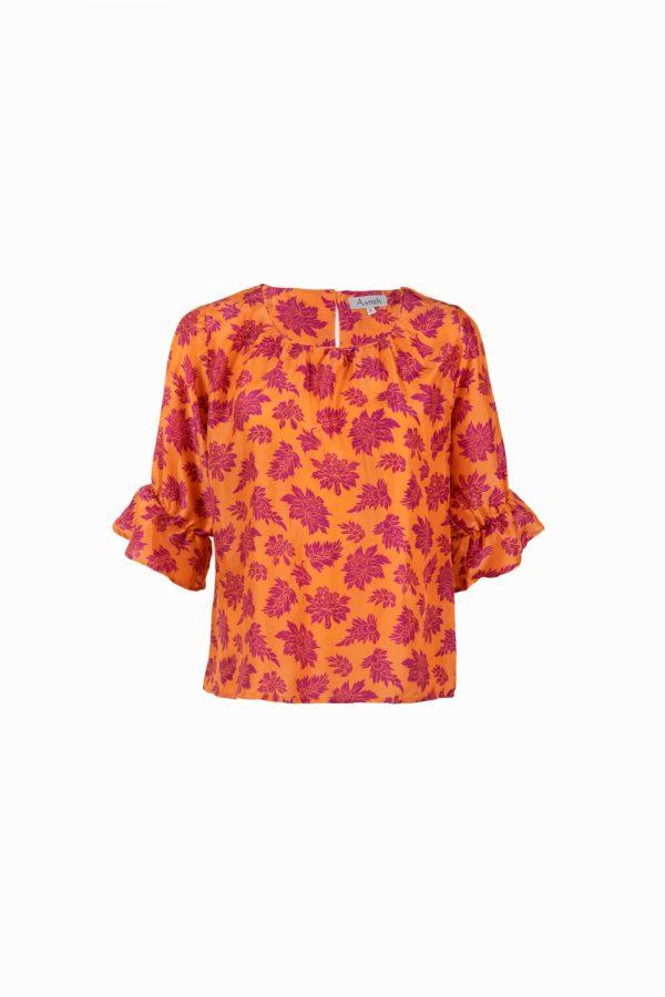 Orange purple baroque printed silk blouse