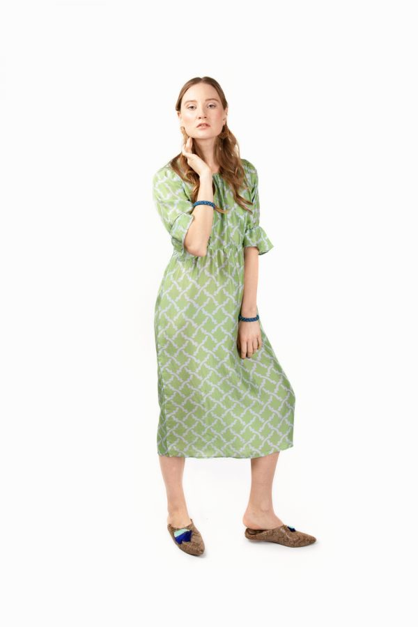 green midi silk dress