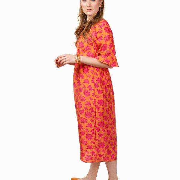 orange midi silk dress
